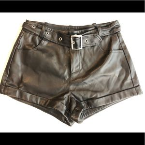 Nasty Gal faux leather belted shorts
